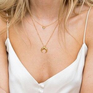 Image 1 - Silvology 925 Sterling Silber Gold Mond Crescent Anhänger Halskette Kreative Textur Elegante Weibliche Halskette 925 silber Schmuck