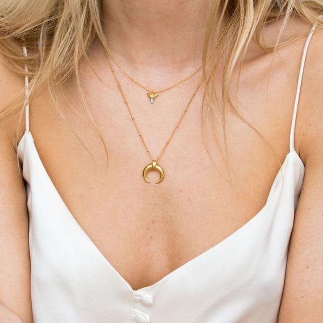 Silvology 925 Sterling Silber Gold Mond Crescent Anhänger Halskette Kreative Textur Elegante Weibliche Halskette 925 silber Schmuck