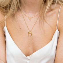 Silvology collier pendentif en argent Sterling 925 or, lune et croissant, Texture créative élégante, collier pour femme bijoux en argent 925