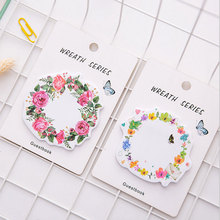1X cute wreath post-it notes weekly plan Sticky Notes Post It Memo Pad kawaii stationery School Supplies Planner Stickers Paper цена