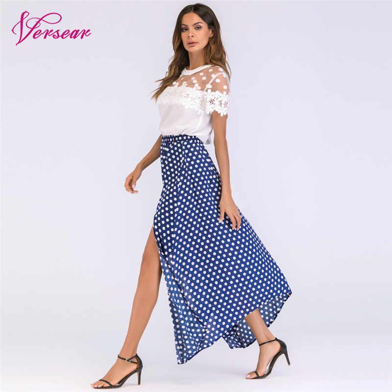 65dc4dd6cce ... Versear Vintage Boho Long Skirt Side Slit Asymmetric Hem Summer Chiffon  Skirt Women Plus Size High ...