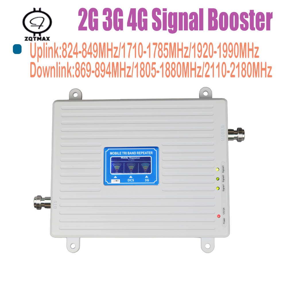 2g 3g 4g Tri Band Signal Booster <font><b>850</b></font> 1800 <font><b>2100</b></font> MHz CDMA WCDMA UMTS LTE Cellular Repeater Amplifier 4g home repeater amplifier image