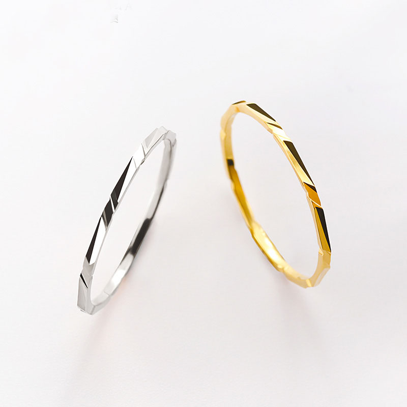 Solid AU750 Gold Ring Band Lady's Little finger Ring Cute Ring new pure au750 rose gold love ring lucky cute letter ring 1 13 1 23g hot sale