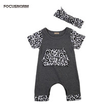Baby Boy Girl Infant Leopard Print Romper Jumpsuit Playsuit Outfits Set Toddler Baby Short Sleeve Romper Headband Set 0-18M(China)