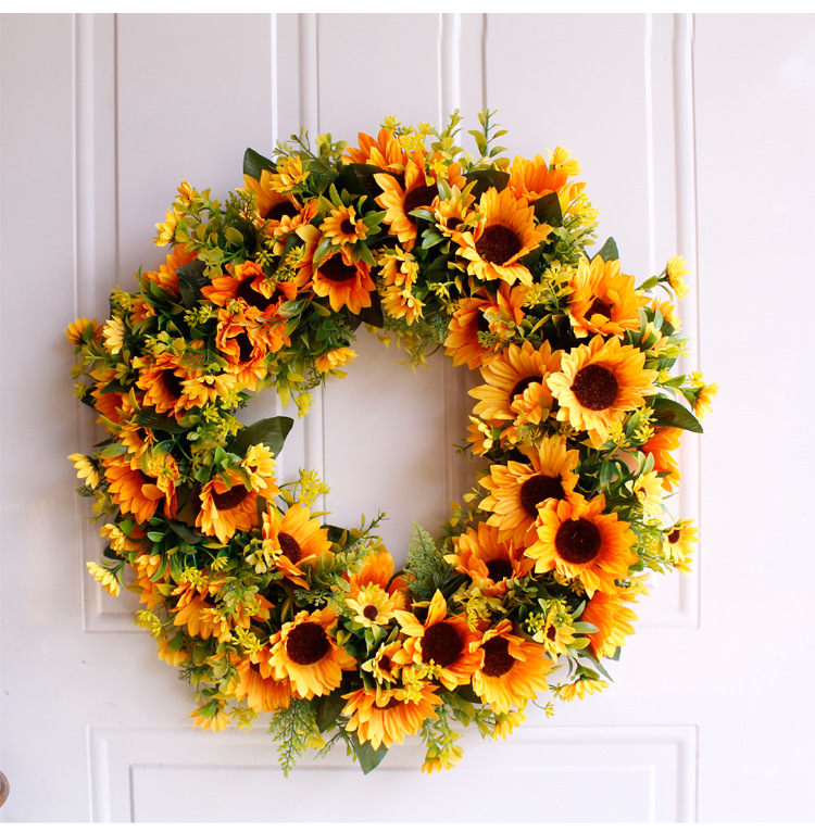 Artificial Wreath Simulation Sunflower Wreath Door Wall Hanging Decoration Garland Wianek for Home Wedding Festival Party