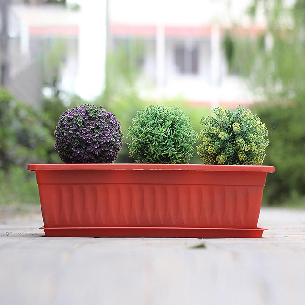 Us 8 88 36 Off 2pcs Balcony Rectangular Plant Pot Plastic Flower Garden Nursery Pots Container For Vegetable Decoration Color Random In