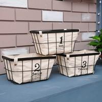 European Simple Storage Basket Wire Frame Rectangle Woven Basket Canvas Removable Storage Of Fruit And Vegetable Storage Basket