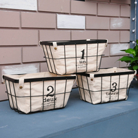European Simple Storage Basket Wire Frame Rectangle Woven Basket Canvas Removable Storage Of Fruit And Vegetable Storage Basket