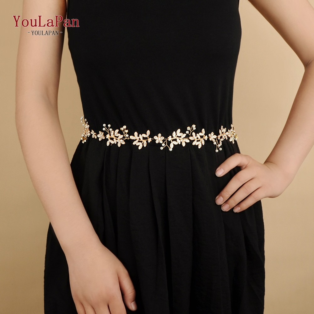 YouLaPan SH89 Gold Rhinestone Belts Wedding Belt Wedding Accessories Diamond Wedding Flower Belt  Wedding Sash Vine Bridal Belts