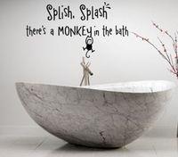 SPLISHสาดTHERE'S Aลิงในห้องอาบน้ำเด็กไวนิลตกแต่งรูปลอกศิลปะผนังขนาด23*15นิ้ว