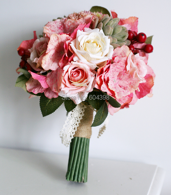 Bridal bouquet pink hydrangea ivory wedding bouquet with succulent bridal bouquet pink hydrangea ivory wedding bouquet with succulent plants customize for your color with mightylinksfo