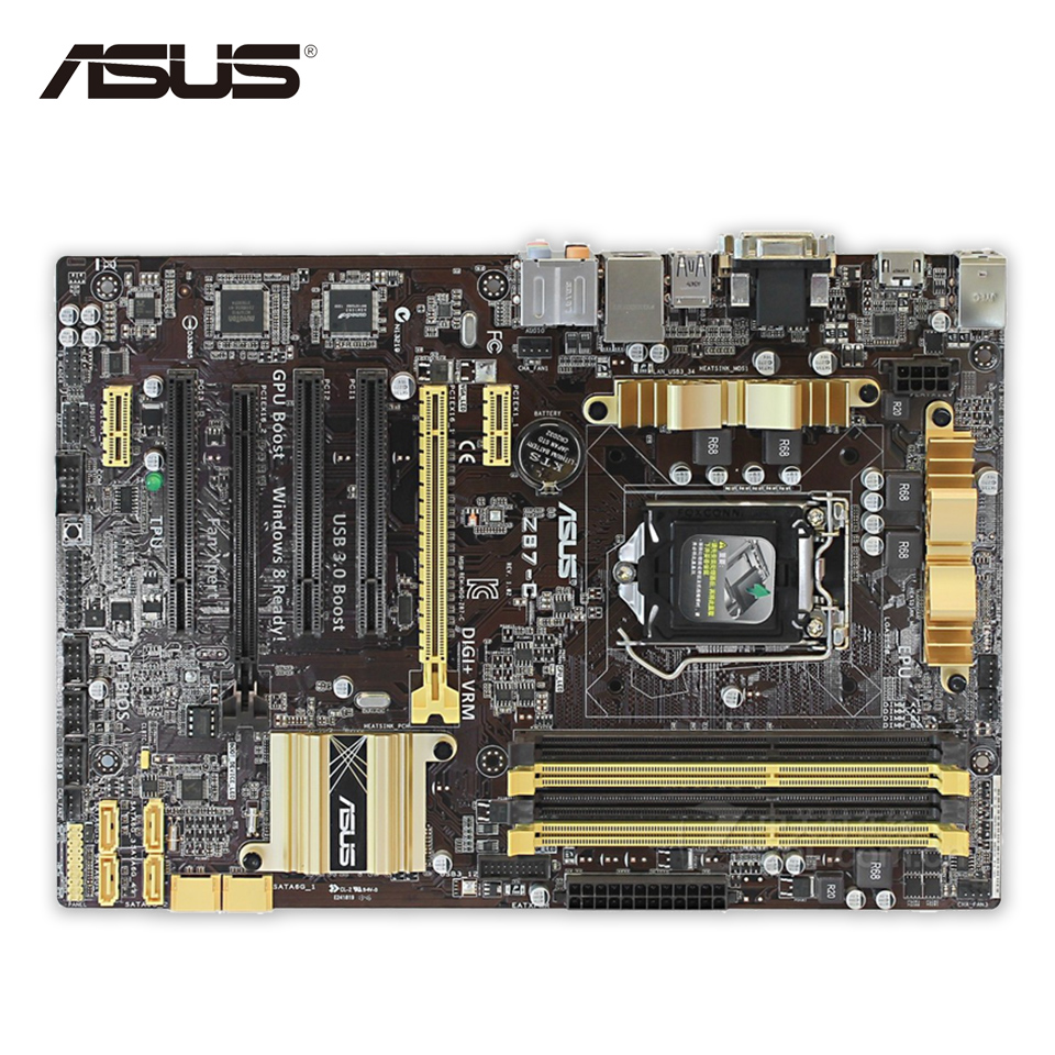 Asus Z87-C Desktop Motherboard Z87 Socket LGA 1150 i7 i5 i3 DDR3 32G SATA3 USB3.0 ATX asus maximus vii ranger desktop motherboard m7r z97 socket lga 1150 i7 i5 i3 ddr3 32g sata3 atx second hand high quality