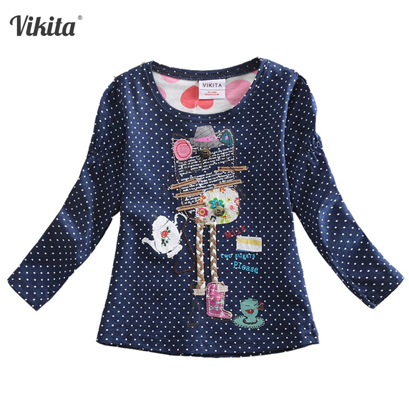 VIKITA Girls T-shirts for Children T-Shirts For Girls Tshirts Long Sleeve kids Tops Girl Clothes 2018 Toddlers Tees F2101 Mix