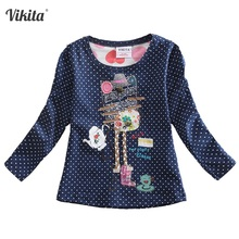 flags brand 2015 new kid t-shirt baby lace girls roupa infantil cartoon print t shirt long sleeve child clothing wear top G649 цены