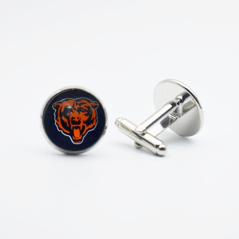 10 пар 2 Стиль высокое качество Футбол Chicago Bears ювелирные запонки 16 мм Металл Медь очарование запонки