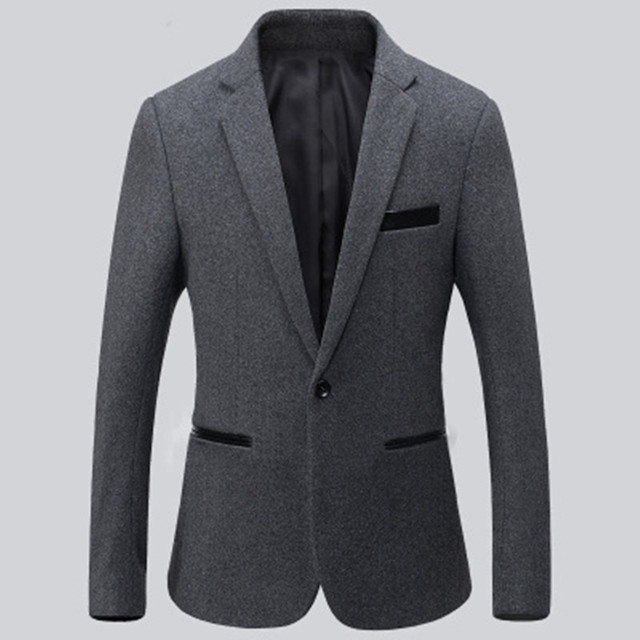 Новое прибытие мужские костюмы куртка шерсть смешанное доры и серый свадебное платье куртка сплошной цвет одной кнопки работы формальные костюмы куртка