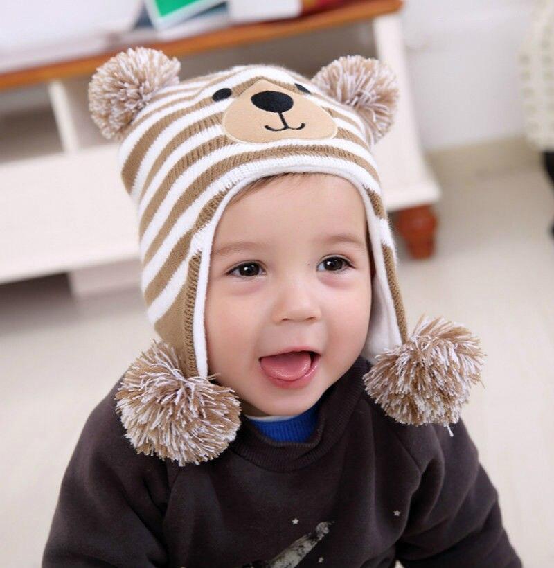 New Unisex Newborn Baby Cap Beanie Boy Girl Toddler Infant Children Cotton Soft Cute Animal Bear Pom Ear Hat