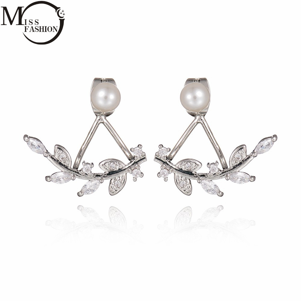 Ear Jacket Silver Plated Cubic Zirconia Leaf Double Sided Earrings Front  Back Simulated Pearl Stud Earing