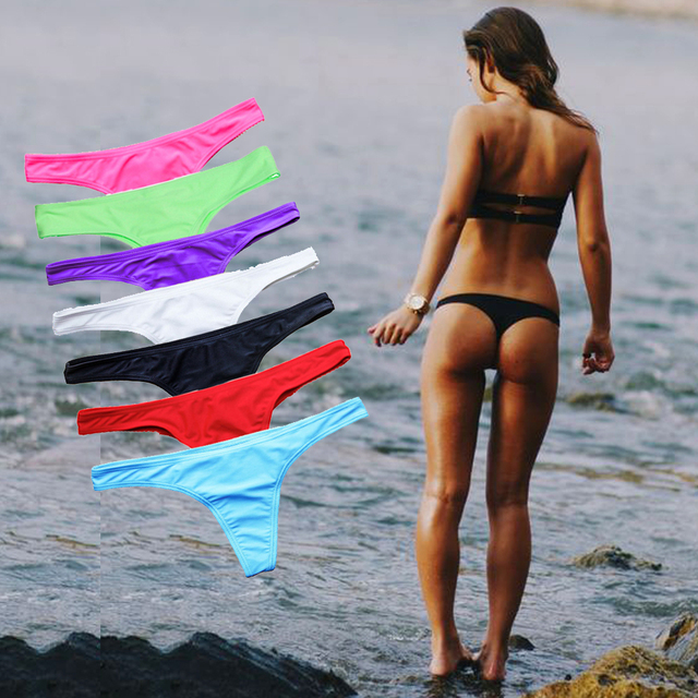 9d3104805dd Sexy Bikinis Bottom Women Brazilian Swimwear White black Swimsuit Bikini  Panties cheeky Thong bikini bottoms Swim Trunks 2018