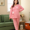 Pregnant Woman Pajamas Postpartum Breastfeeding Month Of Serving Lapel Clothes Long-sleeve Sleepwear Suits CL0800