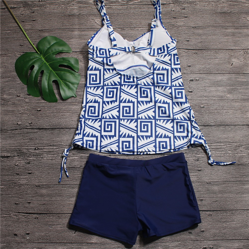 d6ca1a059e8f 2018 Sexy Swimwear Women Tankini Set Two piece Swimsuit Geometric Strap  Sport Swimming Suits with Shorts Bathing Suits-in Body Suits from Sports ...