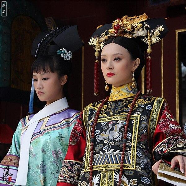 TV Play Legend Of Empress Zhenhuan Costume Qing Princess Qizhuang Super Gorgeous Embroidery Phoneix And Dragon Empress Costume