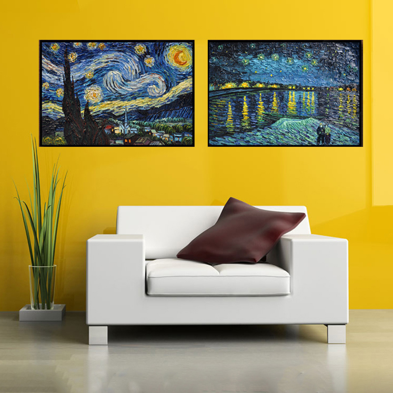 High Quality Hand Painted Van Gogh Star Rhone Living Room Wall ...