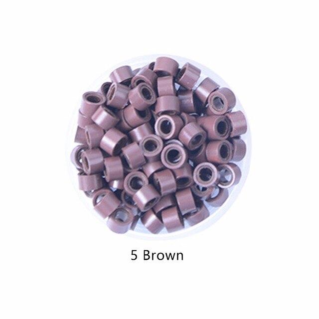 1000 шт./упак. кремния выстроились Micro Ссылки Кольца Бусины волос Перо расширения 5 # коричневый. 9 Цвета дополнительно