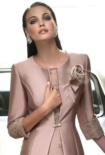 High Quality robe de mariee 2018 Elegant Pink Three Quarter Sleeve Lace Applique Mother of the Bride Dresses with Jacket in Mother of the Bride Dresses from Weddings Events