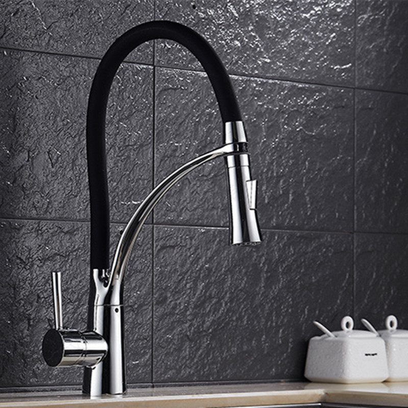Deck mounted pull out black bronze kitchen sink faucet and single handle black bathroom basin sink water taps