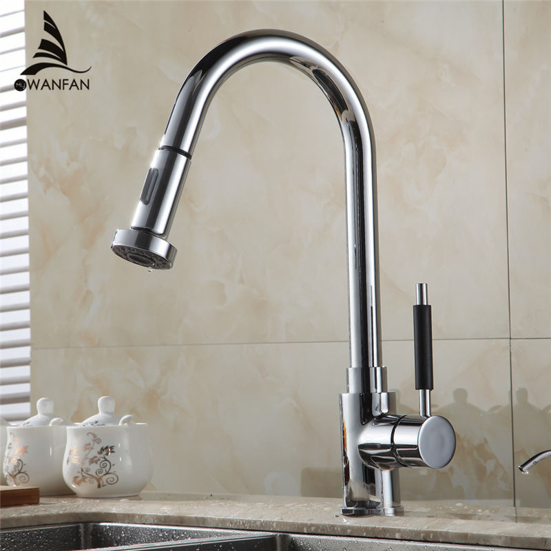 ФОТО Free Shipping HOT SALE Pull Out Polished Chrome Kitchen Sink Basin Mix Tap Faucet kitchen faucet mixer kitchen tap HJ-8055L