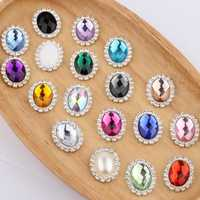 120PCS 20MM*25MM Horse Eye Silver Button For Wedding Invitation Shiny Flatback Buckle Rhinestone Buttons For Decoration
