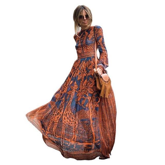 2017 на лето и весну модные женские туфли длинное платье из шифона с длинными рукавами и принтом Макси платье элегантный Повседневное Платья для вечеринок пикантные Vestidos
