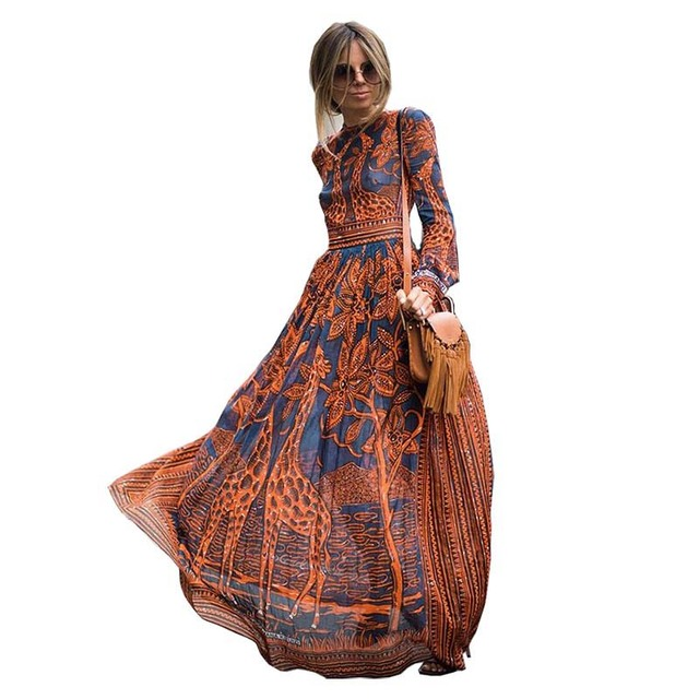 6a299c242811 S.FLAVOR Summer Spring Fashion Women Long Dress Chiffon Long sleeve Print  Maxi Dress Elegant Casual Party Dresses sexy Vestidos
