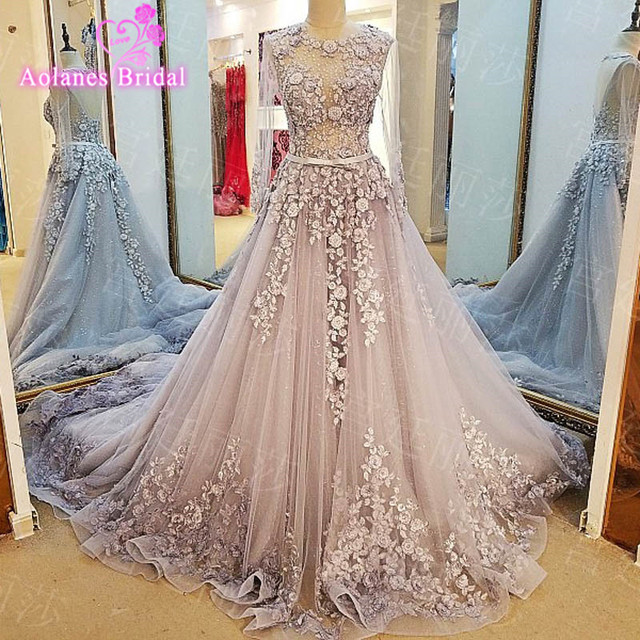 AOLANES Vestido De Noiva Princesa Gray Ivory Beading Crystal Appliques  Vintage Wedding Dress Robe De Mariage Real Photos 41d05cb661fe