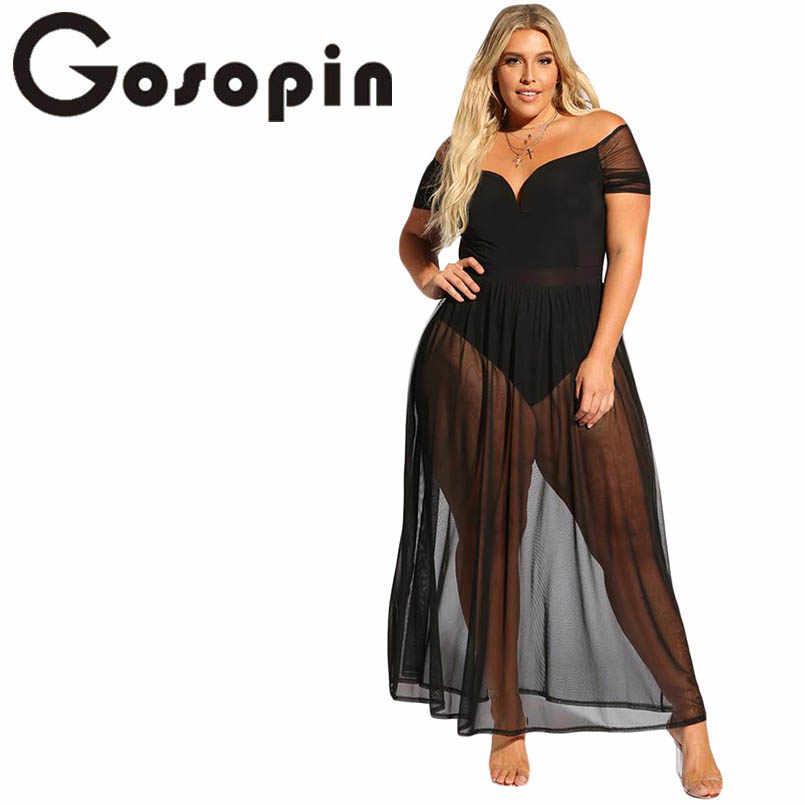 2ee7d04d7e56 Gosopin Plus Size Hollow Out Summer Dress V Neck Sexy Club Off Shoulder  Dresses Black Sheer
