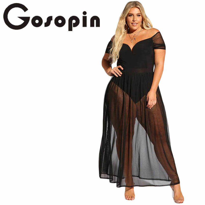 052ae85b8711 Detail Feedback Questions about Gosopin Plus Size Hollow Out Summer Dress V  Neck Sexy Club Off Shoulder Dresses Black Sheer Allure Beach Long Dress  LC610183 ...
