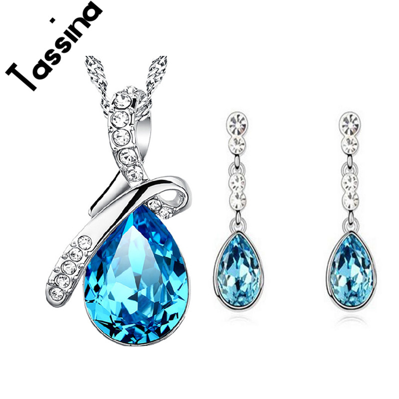 Tassina Shiny Crystal Water Drop Fashion Pendant Necklace Earrings Women Wedding Jewelry Set TNJB39