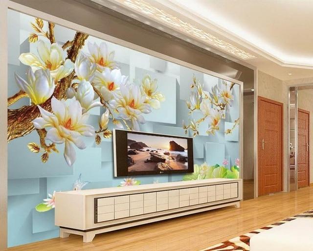 D carta da parati per camera orchidea sfondo pittura decorativa