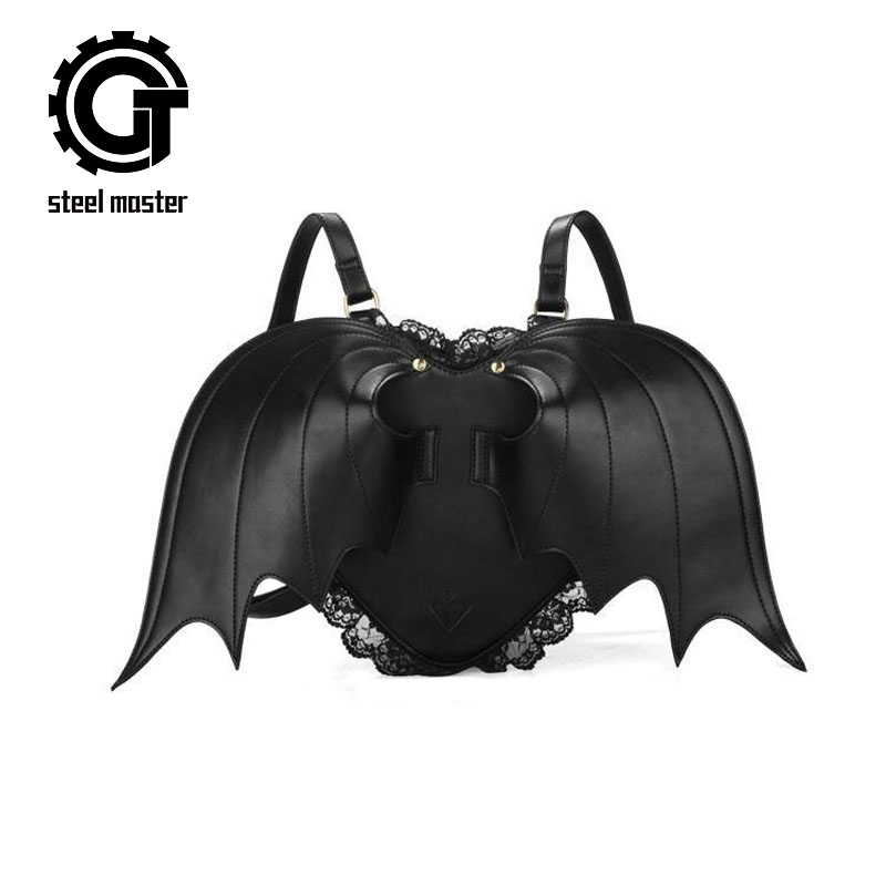 Punk Black Bat Backpack Women Ghost Monster Vampire Retro Rock Bag Fashion Back Pack Bag Ladies Lace Steampunk Backpacks