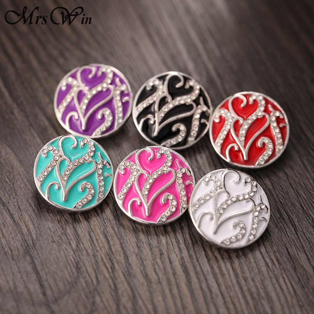 10pcs/lot Snap Jewelry Vintage Crystal Flowers 18mm Metal Snap Buttons for Metal Snap Button Bracelet Bangle