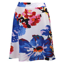 2017 Spring Summer Hepburn Casual Style Floral Print High Waist Circle Midi Skirt Rockabilly Tutu Pin Up Swing Full Puff Skirt(China)