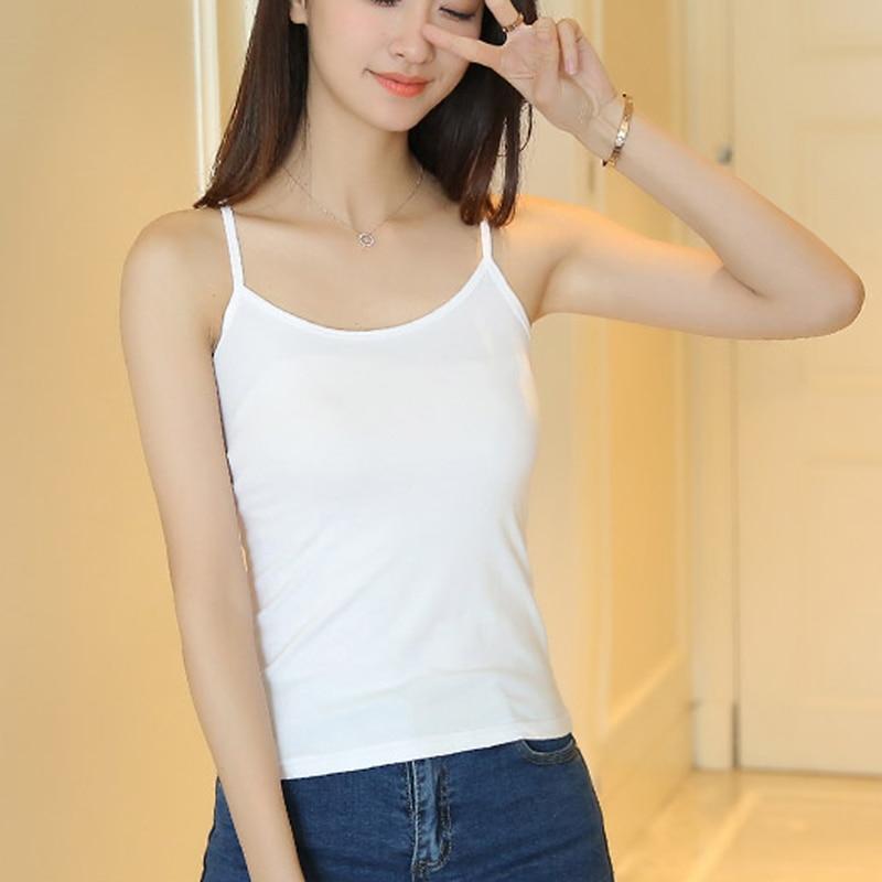 55e4493af3c48 2018 Summer Women Solid Cotton Tanks Plus Size XXXL Ladies Sleeveless  Casual Slim Tank Tops Girls Camisoles White Black Tees