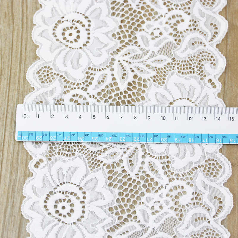 (3 metro) 15 centimetri bianco elastico del merletto del Tessuto Francese biancheria intima cava pizzo elasticizzato Assetto FAI DA TE hollow biancheria intima
