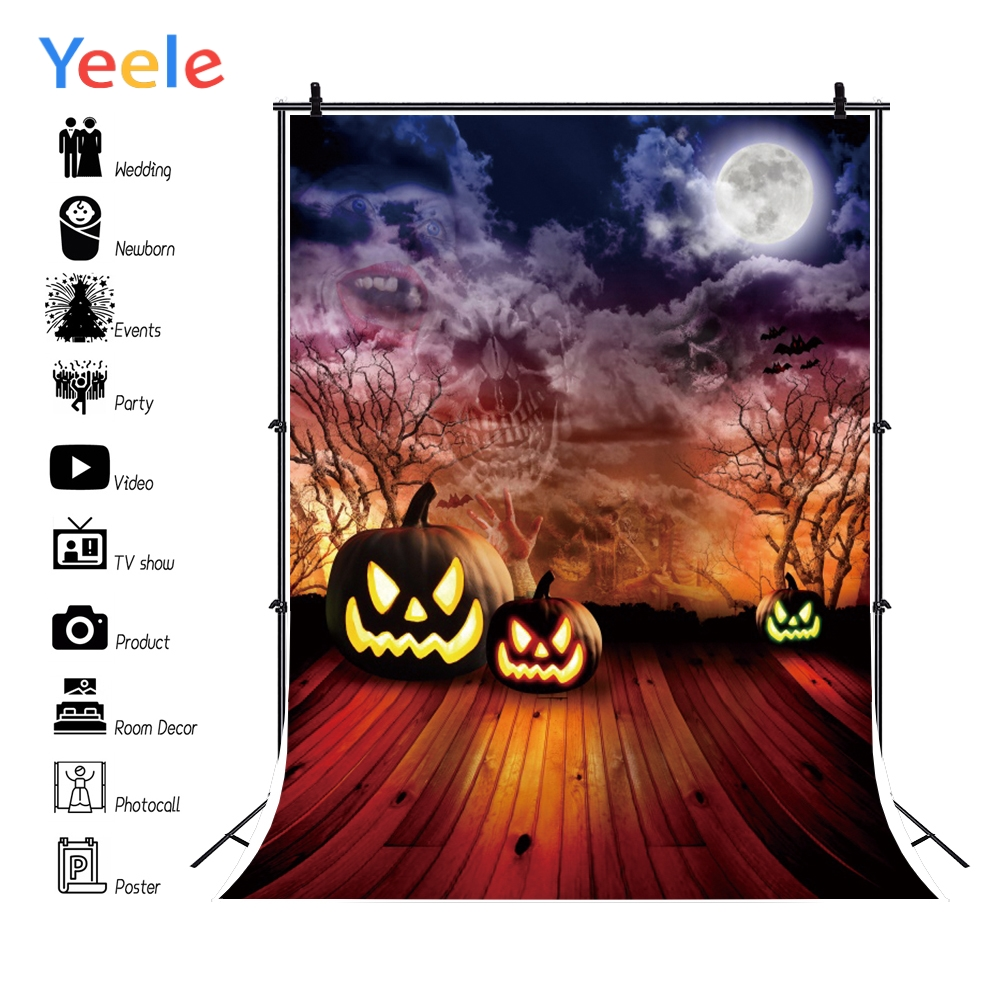 Yeele Halloween Party Pumpkin Lantern Bat Customized Photography Backdrop Personalized Photographic Backgrounds For Photo Studio in Background from Consumer Electronics