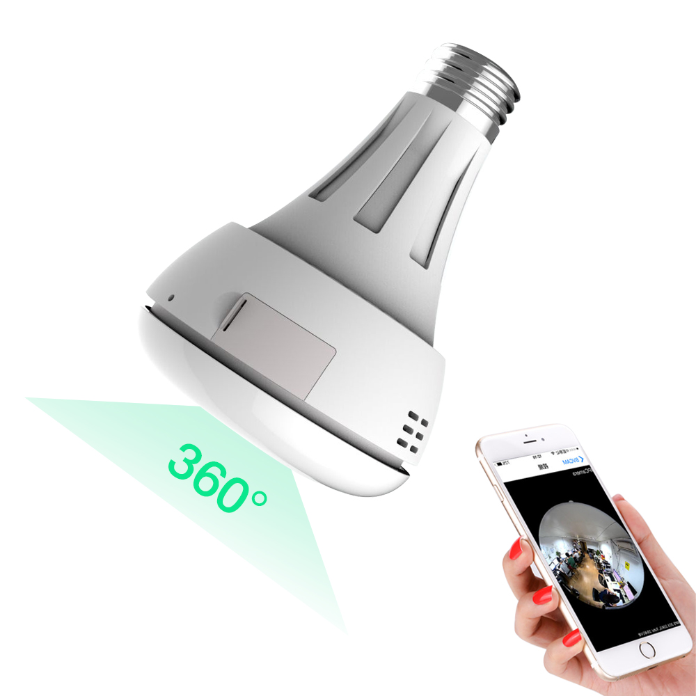 HD 3MP Panoramic Bulb Light Wireless IP Camera Wi-FI FishEye Baby Monitor Mini Lamp Wifi P2P Cam CCTV Home Security Night Vision new hd 3mp led bulb light wireless camera fisheye panoramic wifi network ip home security camera system for ios android p2p