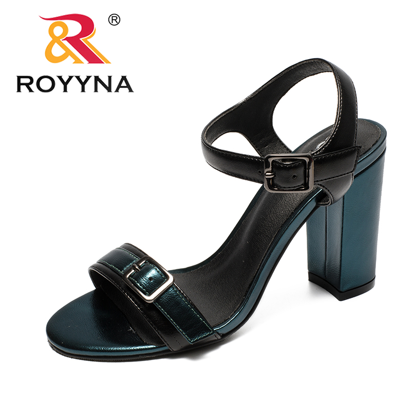 ROYYNA New Classics Style Women Sandals Buckle Femme Summer Shoes High Heels Female Pumps Open Toe Round Toe Lady Summer Sandals msfair round toe wedges women sandals fashion crystal high heels casual women sandal shoes 2018 summer open toed buckle sandals