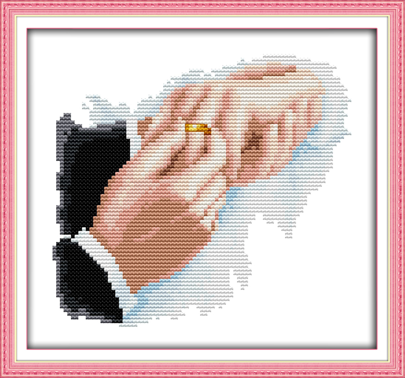 Hold hands counted printed on fabric DMC 14CT 11CT Cross Stitch kitsembroidery needlework Sets Home Decor