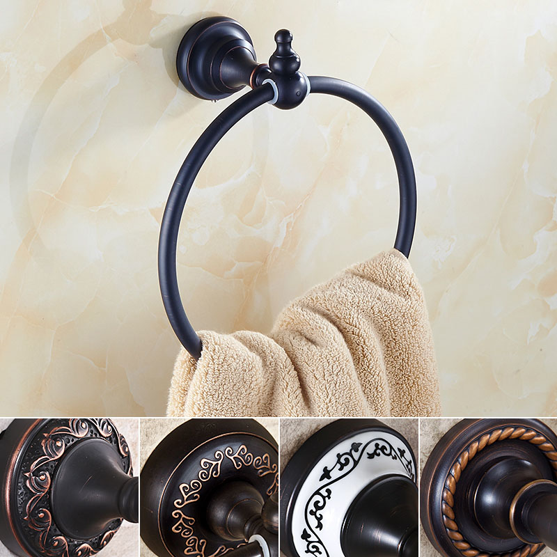 Wholesale and Retail Brass Towel Ring Wall Mounted Oil Rubbed Bronze Round Towel Holder 5-style Free Shipping free shipping wholesale and retail wall mounted paper holder oil rubbed bronze solid brass toilet paper boxer