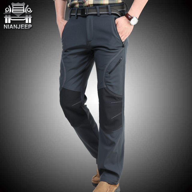 NIANJEEP Winter Pants Men Thicken Fleece Straight Long Trousers Military Army Green Casual Menn's Pants Brand Clothing